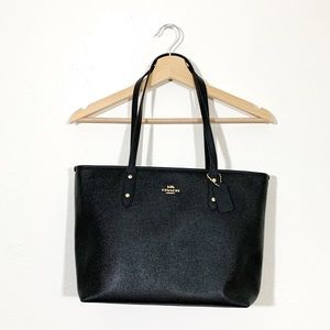 Coach Black Leather City Tote Bag